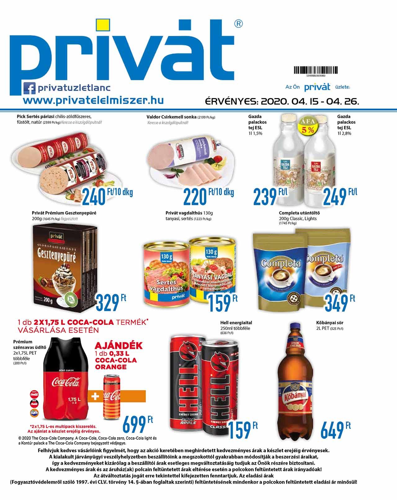 Privát Élelmiszer akciós újság 2020. 04.15-04.26